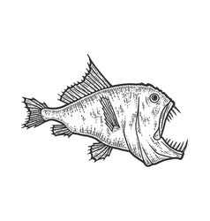 Deep sea predatory fish scary animal sketch vector