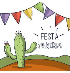 Desert landscape with a cactus in the festa junina vector