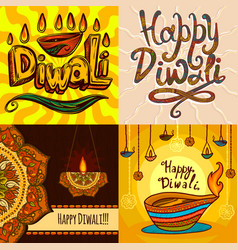 diwali banner set hand drawn style vector image