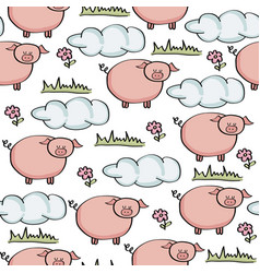 Doodle seamless pattern with pigs vector