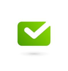 E-mail envelope tick logo icon design template vector