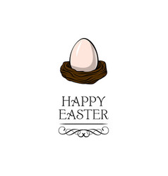 egg in the nest happy easter text vector image