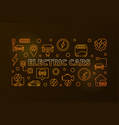 electric cars golden horizontal banner in vector image