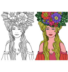 Fairy with long hair in elegant dress vector