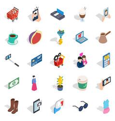 feminine icons set isometric style vector image