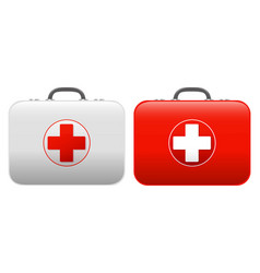 First aid kit set isolated white background vector