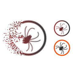 Fragmented pixel halftone spider icon vector