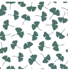Ginkgo leaves seamless pattern herbs background vector