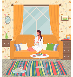 Girl at home on yellow couch in a bathrobe vector