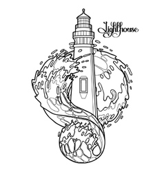 Graphic lighthouse during a storm vector image