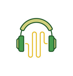 green headphones with sound wave creative vector image