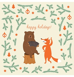 Greeting Christmas card a bear and a cute fox vector image