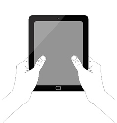 Hand-holding-tablet-inkscape-white-background1 vector image