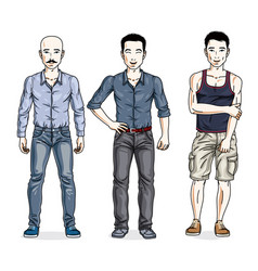 Handsome men posing wearing casual clothes vector