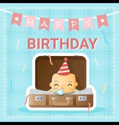 Happy birthday card with cute ba2 vector