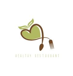 healthy restaurant concept with heart spoon and vector image