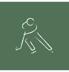 Hockey player icon drawn in chalk vector