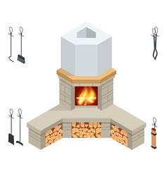 Isometric fireplace brick stone isolated on vector
