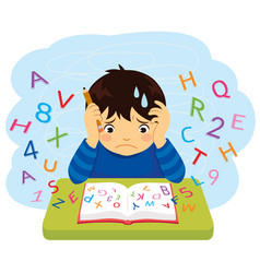 Kid with learning difficulties vector