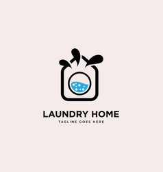Laundry home logo simple line logo template vector