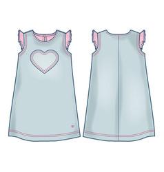 Light blue denim summer dress for baby girls vector