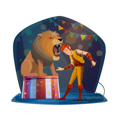 lion with open mouth and handler on circus stage vector image