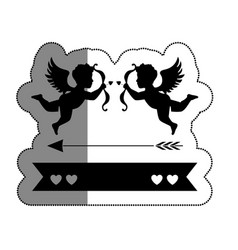 Love card with cupid angel vector