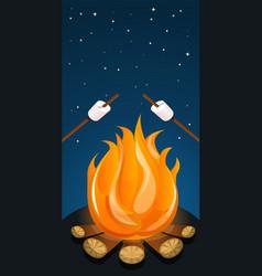 Marshmallow on fire camp concept banner cartoon vector