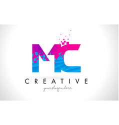 mc m c letter logo with shattered broken blue vector image
