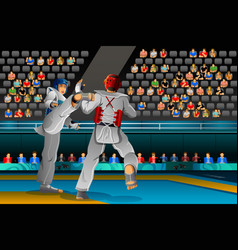 men competing in a taekwondo competition vector image