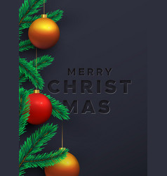 merry christmas card 3d pine tree and red bauble vector image