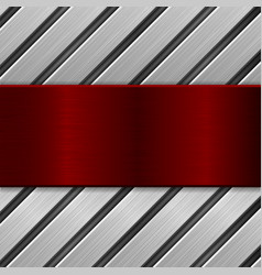 metal background red metallic brushed texture on vector image
