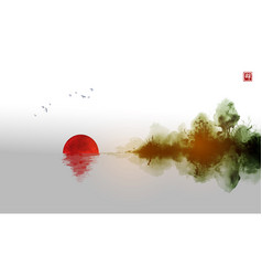 Misty island with red sun dark forest trees vector