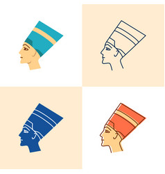 Nefertiti icon set in flat and line style vector