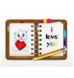 Notepad for you design with i love you words for y vector