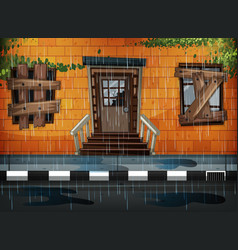 Old building and rainy day vector