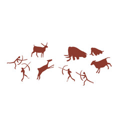 parietal art or cave painting depicting group vector image