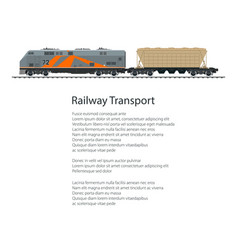 Poster locomotive with hopper car vector