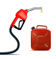 Realistic fuel nozzle with oil drop and jerrycan vector
