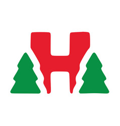 Red letter h with fir clip art christmas vector