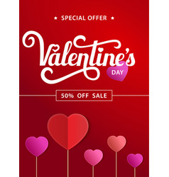 red poster with lettering valentines day sale vector image