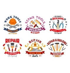 Repair tool and building instrument badge set vector