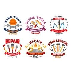 Repair tool and building instrument badge set vector