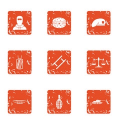 Risk icons set grunge style vector