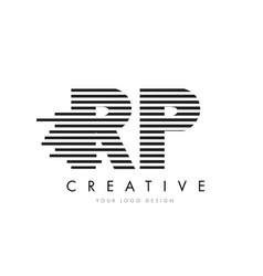 Rp r p zebra letter logo design with black and vector