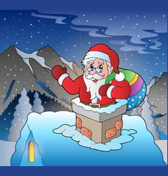 Santa claus on roof in mountain vector