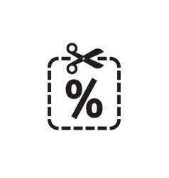 scissors and discount percent - icon design vector image