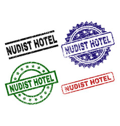 Scratched textured nudist hotel seal stamps vector
