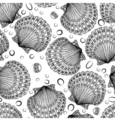 Seamless pattern of decorative seashells vector image