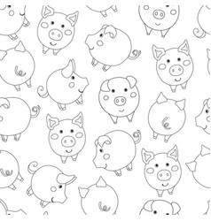 Seamless pattern with cute cartoon contour pigs vector